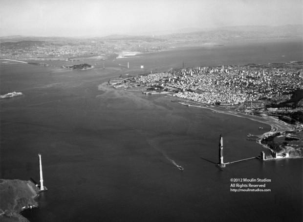 Golden Gate and Bay Bridges under construction
