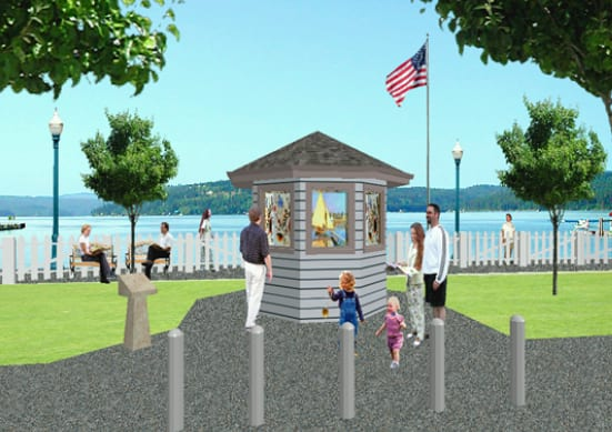 Mockup of kiosk in San Francisco waterfront